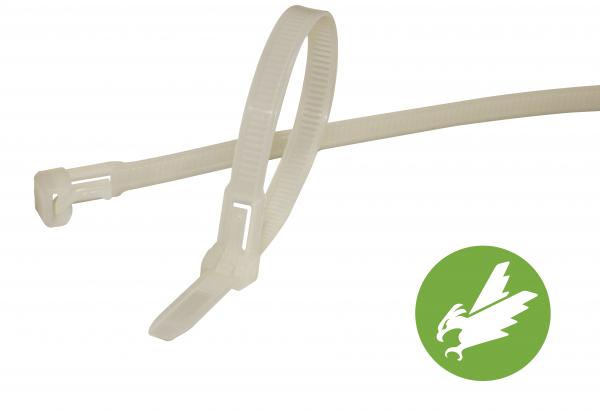 HPER Kabelbinder wiederlösbar nachhaltig 300 x 7,5 mm natur (VE100)